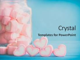 Audience pleasing slide deck consisting of heart - love theme and valentine background backdrop and a light blue colored foreground.