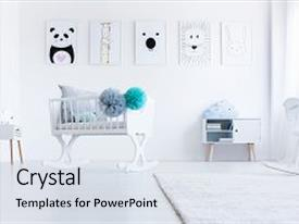 Audience pleasing presentation design consisting of low angle of white cradle with pompons in baby s room with animal pictures on wall backdrop and a sky blue colored foreground.
