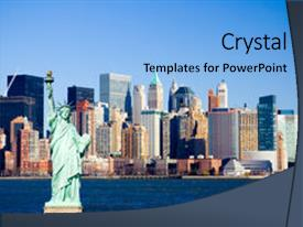 Beautiful slide deck featuring lower manhattan and new york backdrop and a light blue colored foreground.