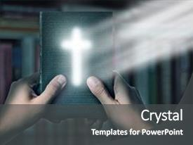 Colorful slide set enhanced with magic bible book with magic backdrop and a dark gray colored foreground.