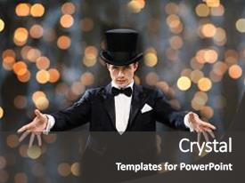 Amazing presentation design having magic performance circus people backdrop and a dark gray colored foreground