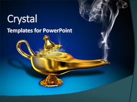 Colorful presentation theme enhanced with magical lamp with white smoke backdrop and a navy blue colored foreground.