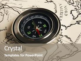 Amazing PPT theme having magnetic compass with vintage map simple navigation tools to orient in the world satellites adventure - map and compass close-up backdrop and a gray colored foreground.