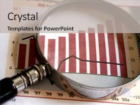 Presentation having magnifying glass focusing background and a light gray colored foreground.