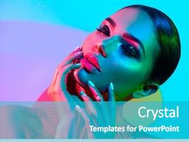 Beautiful presentation design featuring make-up and manicure art backdrop and a teal colored foreground