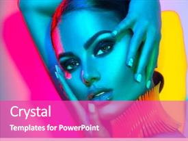 Colorful theme enhanced with make-up and manicure art backdrop and a coral colored foreground