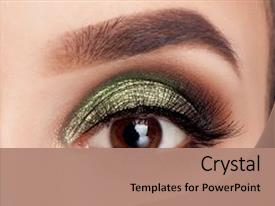 Cool new slide deck with make-up of woman eye backdrop and a coral colored foreground.