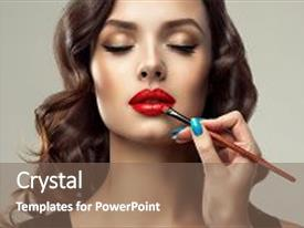 Cool new presentation theme with makeup artist applies red lipstick on lips beautiful woman face make up detail beauty girl with perfect skin and make-up red lips and nails manicure backdrop and a violet colored foreground.