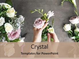 Cool new slide deck with making beautiful bouquet at flower backdrop and a coral colored foreground