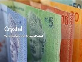 Audience pleasing presentation consisting of malaysian ringgit currency backdrop and a gray colored foreground.