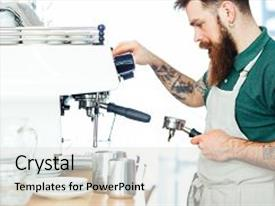 Presentation design with male barista preparing coffee with coffee machine background and a light gray colored foreground