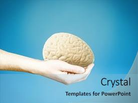 Audience pleasing slide set consisting of male hand holding brain backdrop and a light blue colored foreground