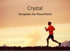 Amazing PPT layouts having male runner silhouette man running backdrop and a coral colored foreground