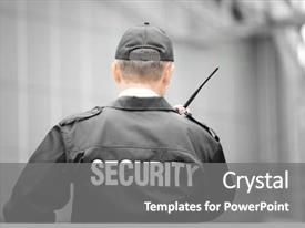 Beautiful slides featuring male security guard using portable backdrop and a gray colored foreground
