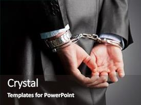 Presentation with jail - man back handcuffs image background background and a dark gray colored foreground