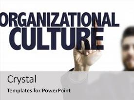 PPT theme consisting of man pointing the text organizational background and a  colored foreground.