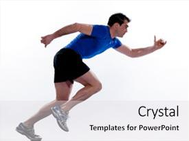 Audience pleasing PPT layouts consisting of man running on studio white backdrop and a light gray colored foreground.
