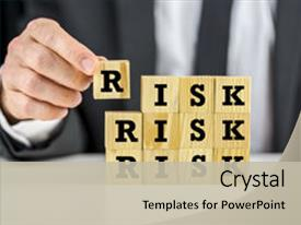 Beautiful PPT layouts featuring risk management - man stacking wooden letter blocks backdrop and a mint green colored foreground.