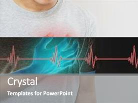 Slide deck featuring man touching his heart with heart pulse sign heart attack and others heart disease concepts background and a gray colored foreground.