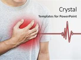Amazing slide deck having man touching his heart with heart pulse sign heart attack and others heart disease concepts backdrop and a white colored foreground.
