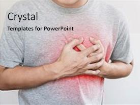 Amazing slides having man touching his heart with red highlight of heart attack heart failure and others heart disease backdrop and a light gray colored foreground.