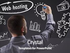 PPT theme enhanced with man writing word web hosting background and a dark gray colored foreground.