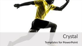 Cool new PPT theme with man young sprinter runner running backdrop and a white colored foreground