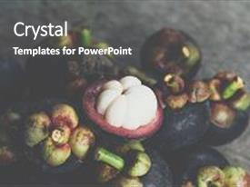 Presentation theme having mangosteen on a wood table is a queen of fruit in thailand and asia fruit have a sweet can buy at thai street food and fruit market background and a dark gray colored foreground.