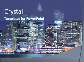 Beautiful PPT theme featuring manhattan skyline at night lights backdrop and a ocean colored foreground.