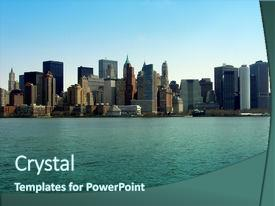 Slide deck having manhattan skyline new york background and a ocean colored foreground.