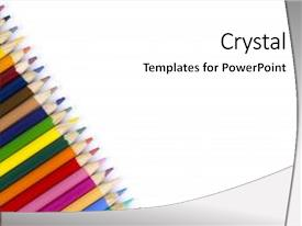 Beautiful presentation theme featuring many colored pencils on isolation pencils on white background next to each other multicolored pencils diagonally in a row backdrop and a white colored foreground.