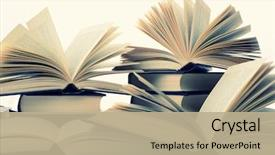Presentation theme enhanced with many hardcover books toned image background and a mint green colored foreground