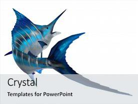 Beautiful PPT theme featuring marlin fish tail 3d illustration - the atlantic blue marlin fish is the largest bony fish and is a popular game fish in the atlantic ocean backdrop and a light gray colored foreground.