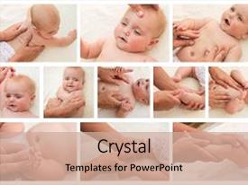 Slide deck consisting of massage and gymnastics little baby background and a coral colored foreground.