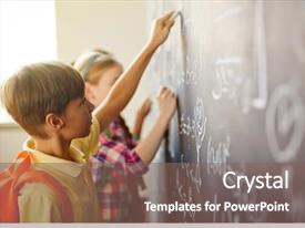 Amazing PPT theme having math - children by blackboard backdrop and a violet colored foreground