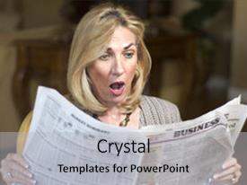 Amazing presentation design having mature woman reading the financial news with shock look on her face backdrop and a light gray colored foreground.