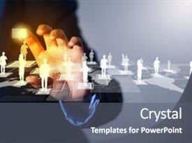 Beautiful PPT theme featuring network - media relations - image backdrop and a gray colored foreground