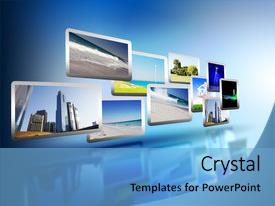 Cool new PPT layouts with media stream of high technology backdrop and a light blue colored foreground.