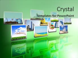 Amazing PPT theme having media stream of high technology backdrop and a mint green colored foreground.