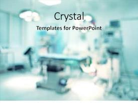 PPT layouts consisting of medical - blurred background of modern operating background and a sky blue colored foreground