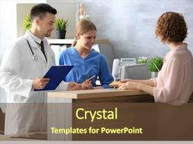 Colorful PPT layouts enhanced with medical - receptionist and doctor with client backdrop and a tawny brown colored foreground