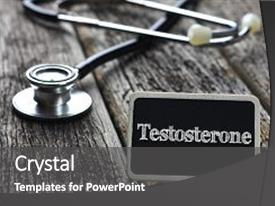 Slides having physiology - medical concept- testosterone word written background and a dark gray colored foreground.