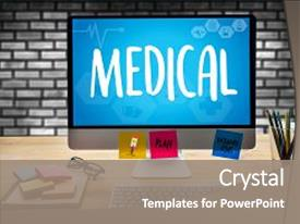 Presentation design enhanced with medical health medical service medical background and a gray colored foreground.