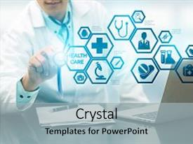 Colorful presentation theme enhanced with medical healthcare concept - doctor in hospital with medical icons modern interface showing symbol of medicine innovation medical treatment emergency service doctoral data and patient health backdrop and a light gray colored foreground.