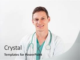 Audience pleasing PPT theme consisting of medical portrait male nurse backdrop and a light gray colored foreground.