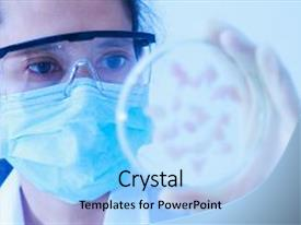 Audience pleasing PPT theme consisting of medical - scientist test or science backdrop and a light blue colored foreground.