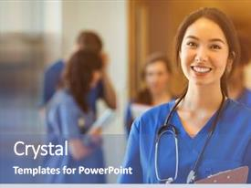 Cool new presentation theme with medical student smiling at camera backdrop and a ocean colored foreground