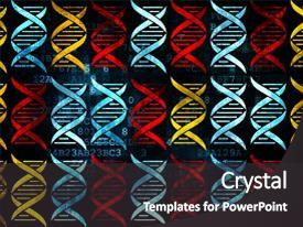Presentation design having medicine concept pixelated multicolor dna background and a  colored foreground.