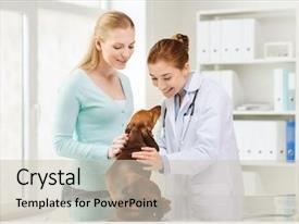 PPT theme enhanced with medicine pet care and people background and a soft green colored foreground