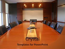 Presentation theme having meeting or board room background and a red colored foreground.